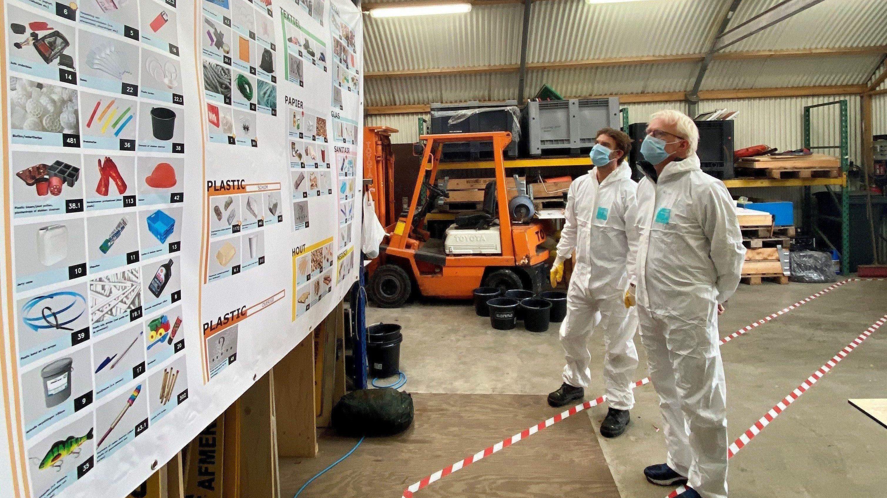 Twee mannen in witte beschermingspakken en mondkapjes bekijken een groot bord aan de muur met daarop afbeeldingen van plastic voorwerpen