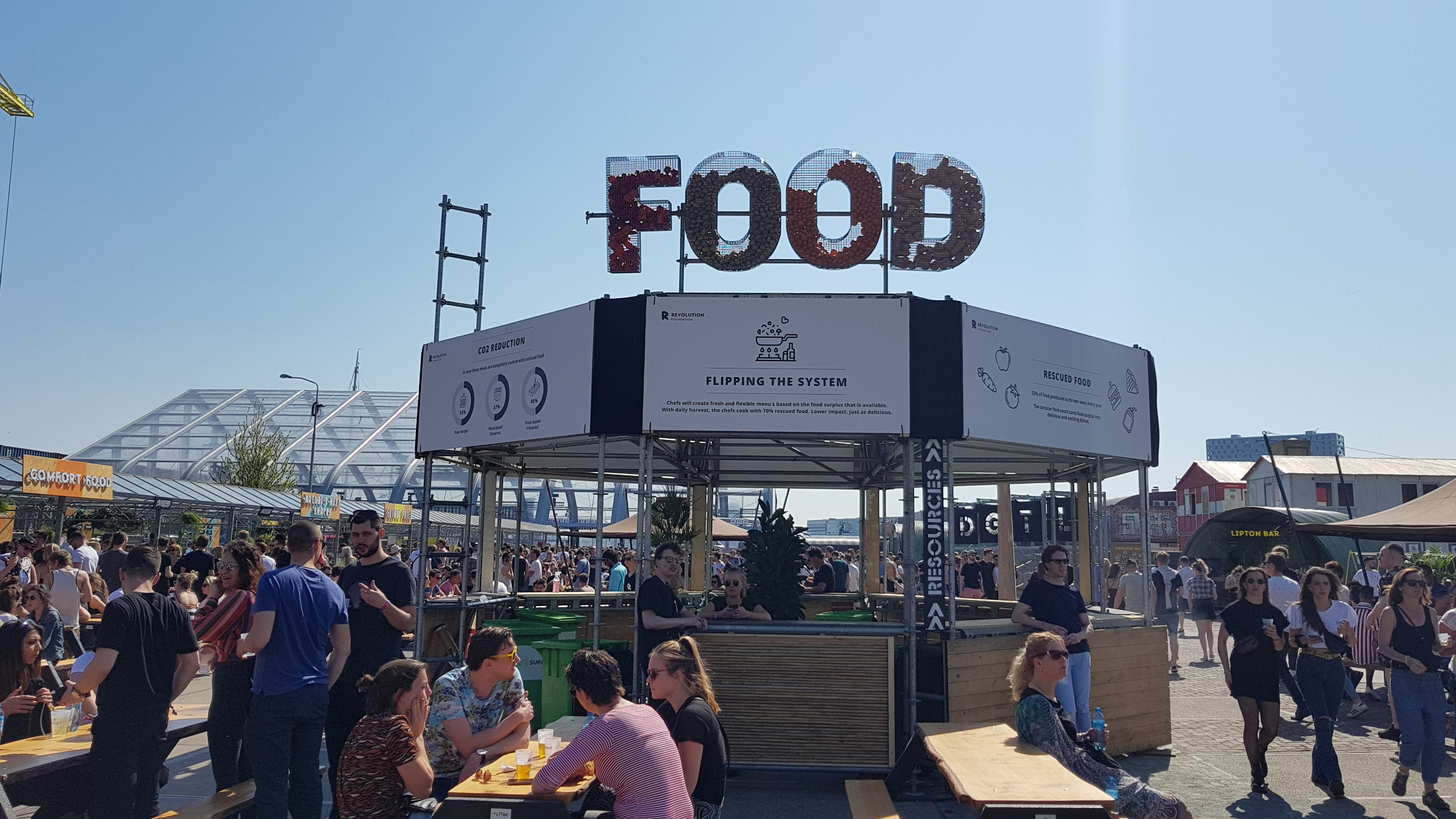 Circulaire Foodcourt op festivalterrein DGTL