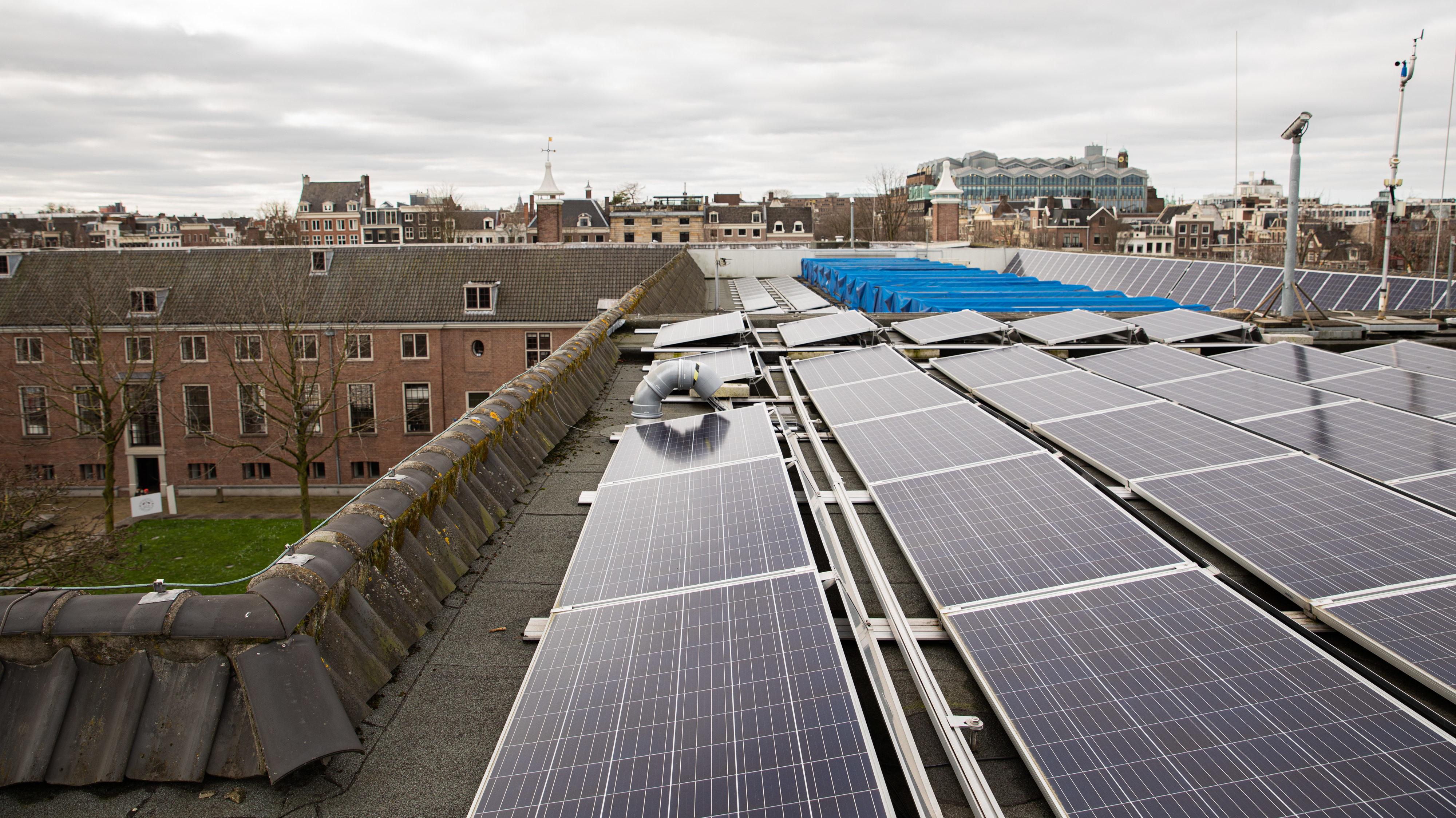 Zonnepanelen op het dak van de Hermitage. Foto Roos van Trommelen