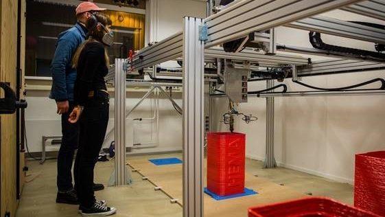 De 3D-printer van vanPlestik in werking
