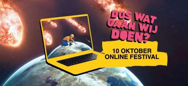 Campagnebeeld Dus Wat Gaan Wij Doen Online Festival 10 oktober. Illustratie van een bouwvakker die zittend aan de aardbol timmert