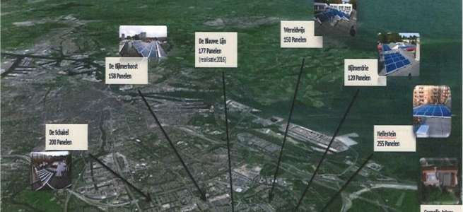 Kaart toont hoeveelheid beoogde zonnepanelen op scholen van Stichting Zonova: De Schakel 200 panelen, De Bijlmerhorst 158 panelen, De Blauwe Lijn 177 panelen, Wereldwijs 150 panelen, Bijlmerdrie 120 panelen, Nellestein 255 panelen.