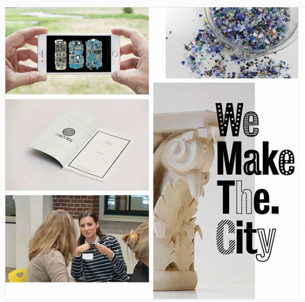 Collagebeeld Impact Hub met o.a. plastic korrels en een telefoon. Tekst We Make The. City