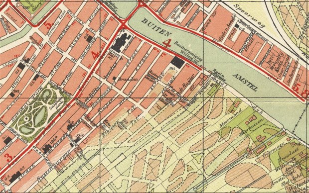 De hoek Rustenburgerstraat Amsteldijk op de kaart in 1908.