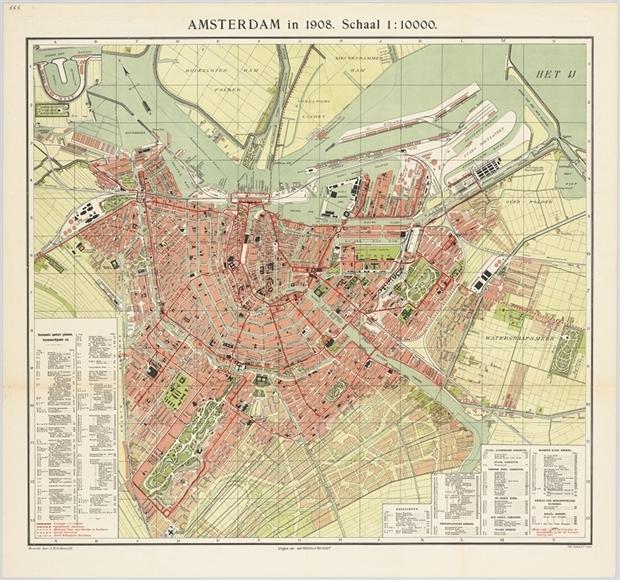De kaart van Amsterdam in 1908. De oude polder wordt na de annexatie volgebouwd.