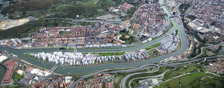 Bovenaanzicht eiland in Bilbao met ontwerpschets energieleverende bebouwing